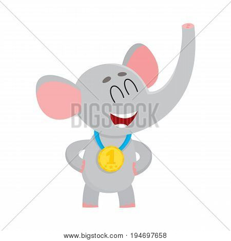 Cute, proud elephant character, champion wearing golden winner medal, cartoon vector illustration isolated on a white background. Little baby elephant champion wearing medal for taking first place