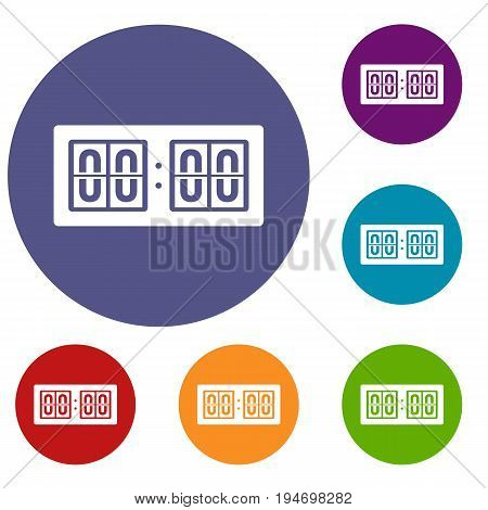 Scoreboard icons set in flat circle reb, blue and green color for web