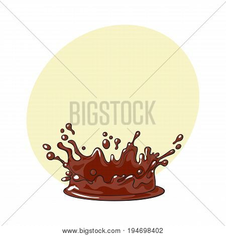 Side view splash, drop of chocolate, realistic hand drawn, sketch style vector illustration with space for text. Hand drawn side view chocolate splash, background detail