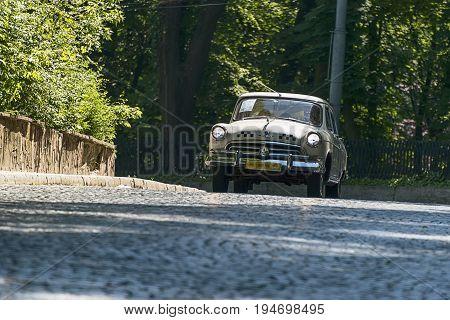 Lviv Ukraine - June 4 2017:Old retro car Gaz -21 taking participation in race Leopolis grand prix 2015 Ukraine.