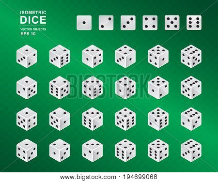 Six sided Isometric Dice. Vector illustration of white cubes with black pips in all possible turns on green checkered background. Casino symbol
