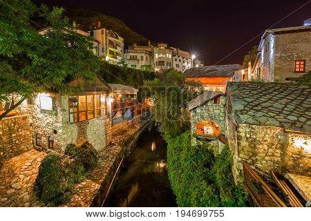 Cityscape of Mostar - Bosnia and Herzegovina - architecture travel background