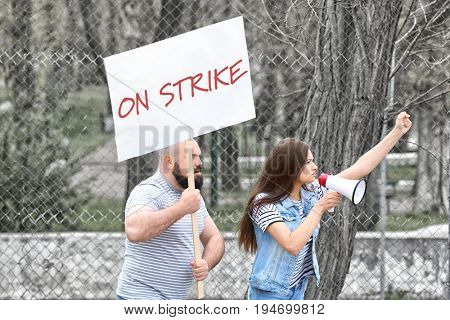 Young people on workers strike outdoor