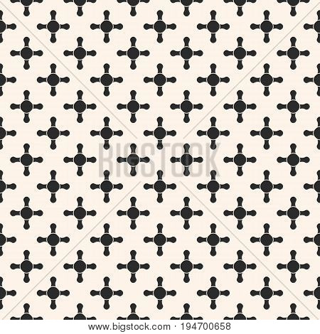 Vector seamless pattern. Abstract geometric background with simple geometrical shapes, rounded crosses, circles, staggered grid. Monochrome endless texture, repeat tiles. Dark modern design element. Seamless pattern with cross.