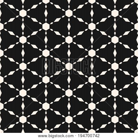 Vector monochrome seamless texture, simple ornamental geometric pattern. Triangular grid, repeat tiles, hexagons, rhombuses. Modern minimalist style. Abstract dark background, symmetric design.