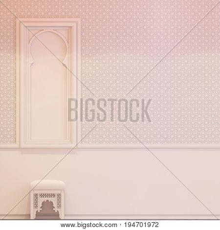 3D Render Hall Islamic Style Interior Design