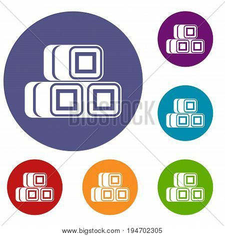 Hay bundles icons set in flat circle reb, blue and green color for web