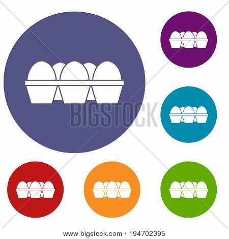 Eggs in carton package icons set in flat circle reb, blue and green color for web