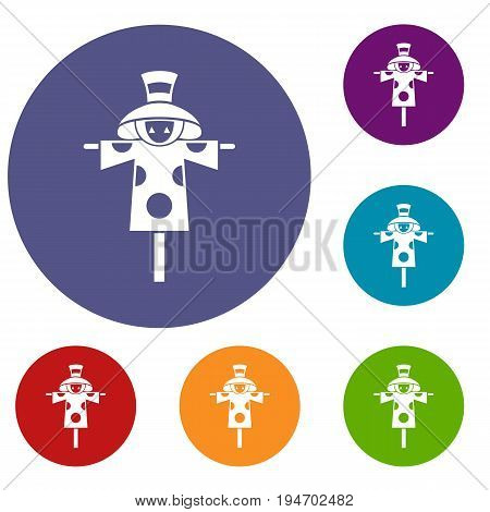 Scarecrow icons set in flat circle reb, blue and green color for web