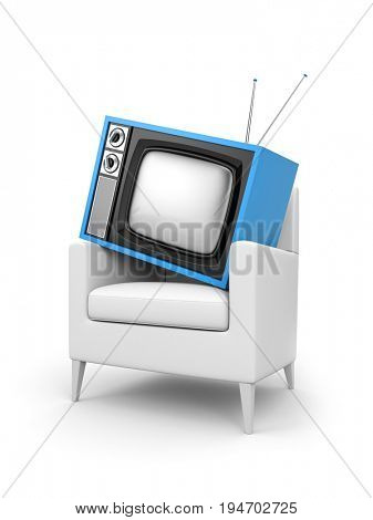TV in the chair. 3d illustration