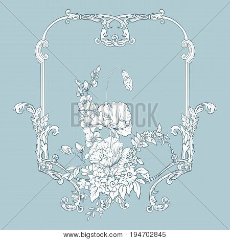 Summer flowers: poppy, daffodil, anemone, violet, in botanical style with vintage rococo frame for text. Good for greeting card for birthday, invitation or banner. Stock line vector illustration.