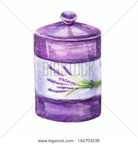 Watercolor hand painting Jar of provence with lavender print illustration on isolated white background. Vintage violet Jar design close up. Provence style