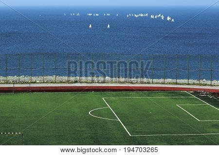 sports stadium football field with green in Vladivostok, Russia