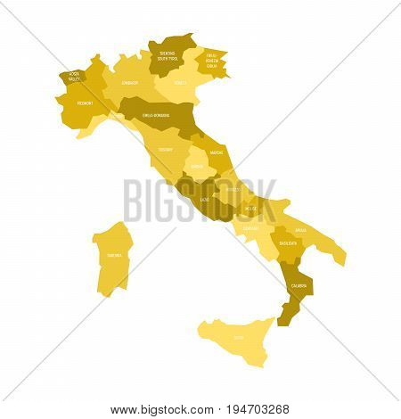 Map of Italy divided into 20 administrative regions in four shades of yellow. White labels. Simple flat vector illustration.