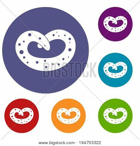 German pretzel icons set in flat circle reb, blue and green color for web