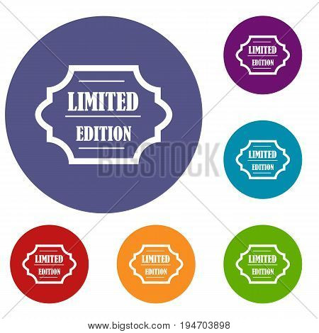 Limited edition icons set in flat circle reb, blue and green color for web