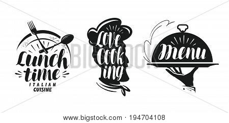 Cooking, cuisine logo. Set icons and symbols for design menu restaurant or cafe. Lettering, calligraphy vector illustration isolated on white background