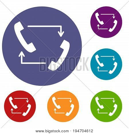 Handsets with arrows icons set in flat circle reb, blue and green color for web
