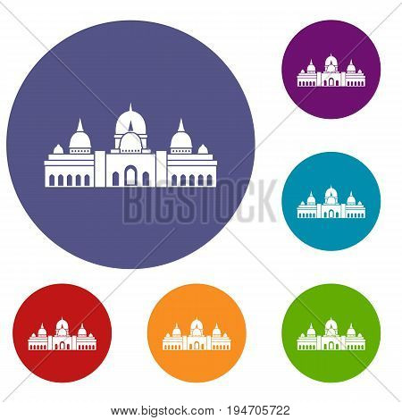 Sheikh Zayed Grand Mosque, UAE icons set in flat circle reb, blue and green color for web