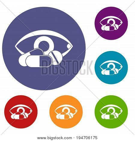 Treatment of the eye icons set in flat circle reb, blue and green color for web