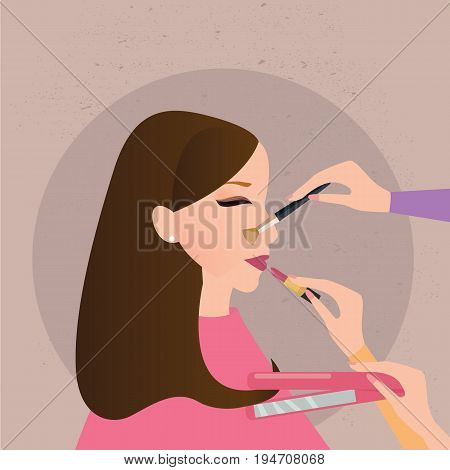 woman girl make up preparation hand holding brush lipstick hair comb face vector