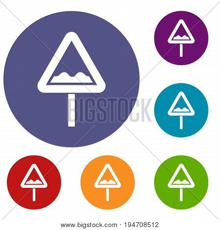 Uneven triangular road sign icons set in flat circle reb, blue and green color for web