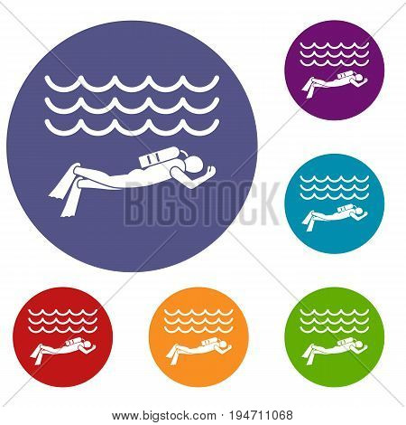 Scuba diver man in diving suit icons set in flat circle reb, blue and green color for web