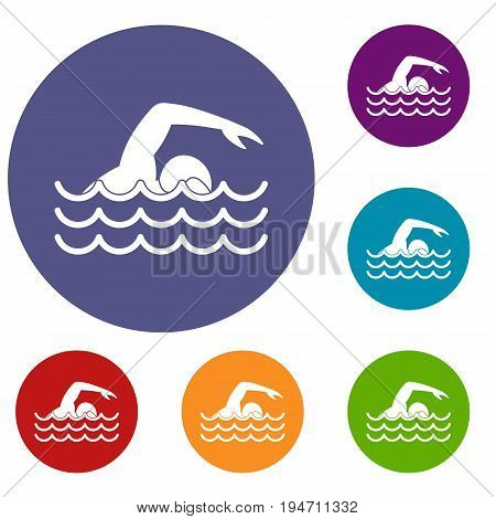 Swimmer icons set in flat circle reb, blue and green color for web