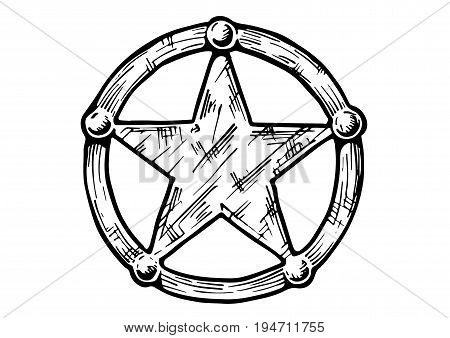 Vector hand drawn illustration of Sheriff star in vintage engraved style. isolated on white background.