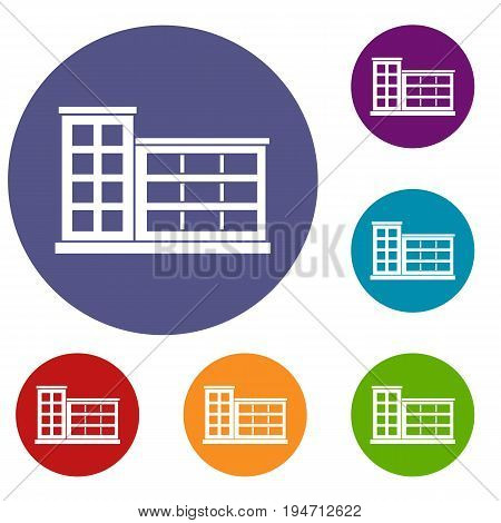 Industrial factory building icons set in flat circle reb, blue and green color for web