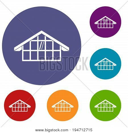 Warehouse icons set in flat circle reb, blue and green color for web