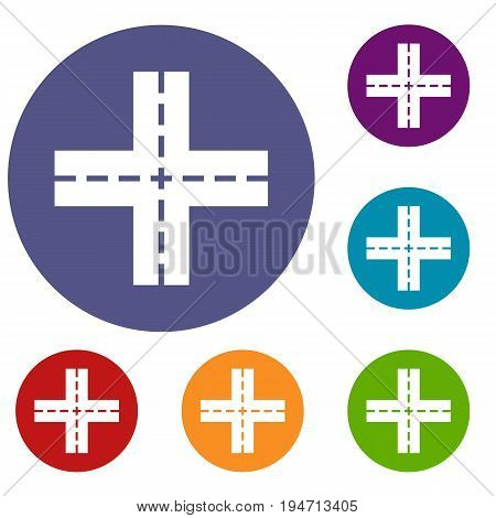 Crossing road icons set in flat circle reb, blue and green color for web
