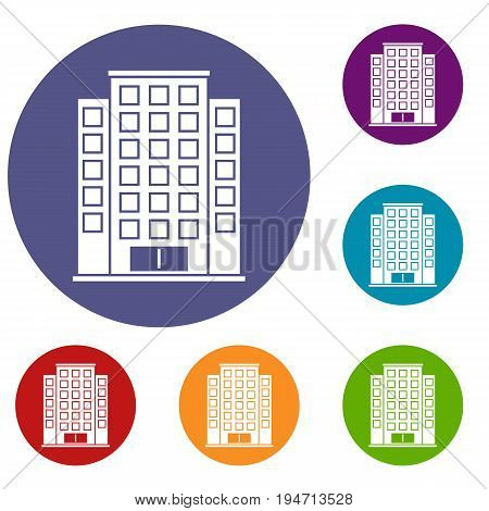 Skyscraper icons set in flat circle reb, blue and green color for web