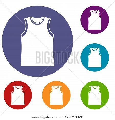 Singlet icons set in flat circle reb, blue and green color for web