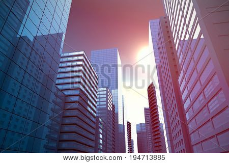 Three dimensional image of modern city against scenic view of bright sun over white cloudscape
