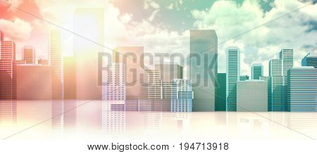 cityscape against white background  against view of overcast against blue sky cityscape against white background