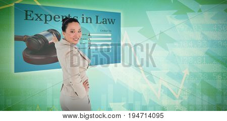 Smiling asian businesswoman pointing against stocks and shares