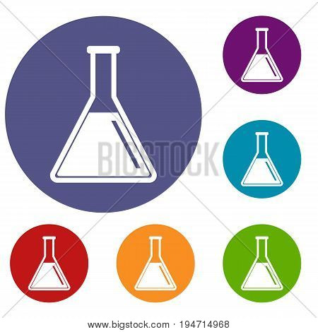 Test tube with oil icons set in flat circle reb, blue and green color for web