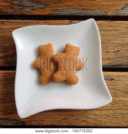 Couple of gingerbread men cookies on a white dish with wood background - gay or lesbian concept