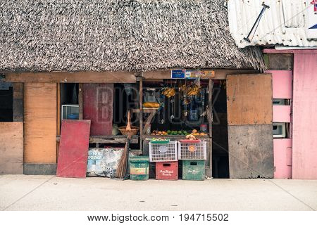 BORACAY, WESTERN VISAYAS, PHILIPPINES - JANUARY 12, 2015: Normal small fruits store in Boracay Philippines.