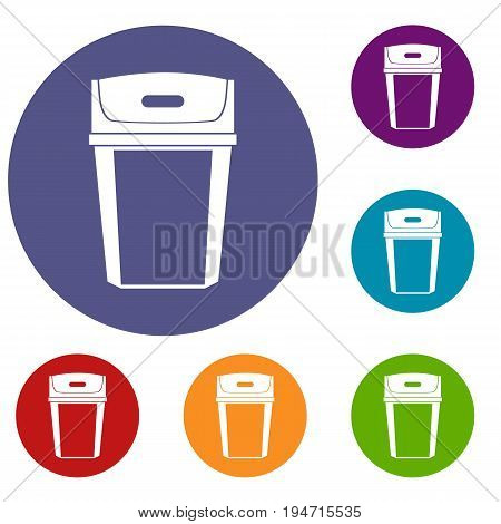 Big trashcan icons set in flat circle reb, blue and green color for web
