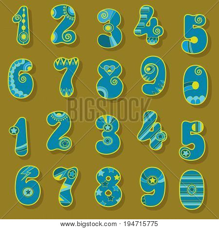 Artistic Numerals. Blue signs with bright yellow decor. Folk Style. Illustration