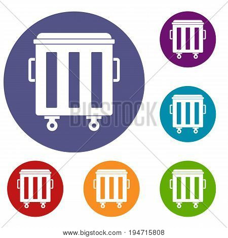Metal trashcan icons set in flat circle reb, blue and green color for web