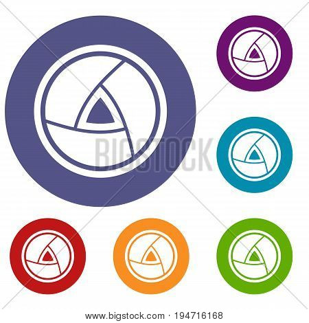 Objective icons set in flat circle reb, blue and green color for web