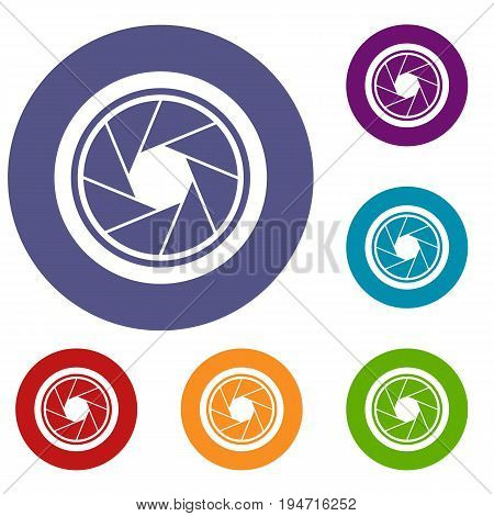 Photographic objective icons set in flat circle reb, blue and green color for web