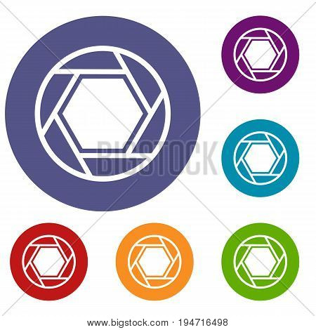 Close objective icons set in flat circle reb, blue and green color for web