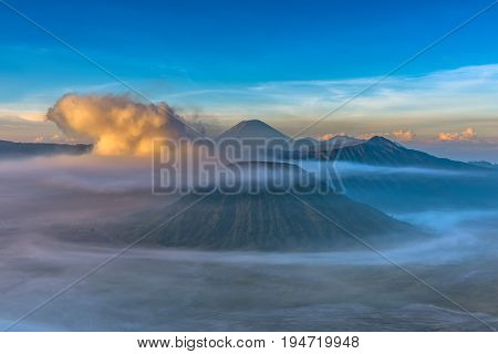 Mount Bromo Volcano (gunung Bromo) During Sunrise From Viewpoint In Bromo Tengger Semeru National Pa