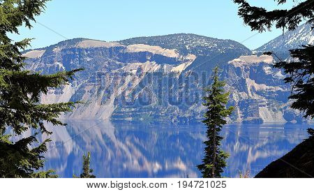 Beautiful view on Crater Lake. Crater Lake National Park, Oregon