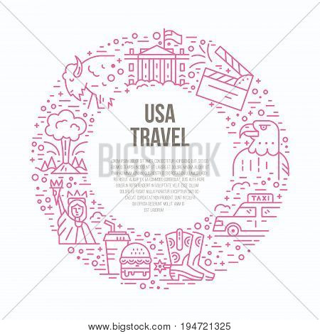Usa symbols in a circle with place for your text