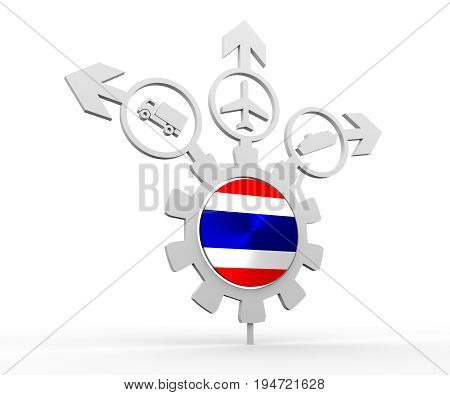 Delivery emblem design. Truck, airplane and ferry boat icons on destination arrows. Flag of the Thailand in the center of gear. 3D rendering